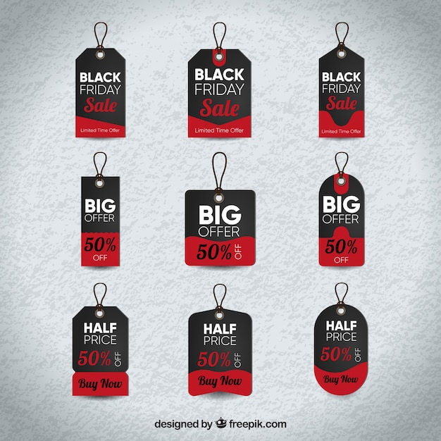 Black friday labels with red details