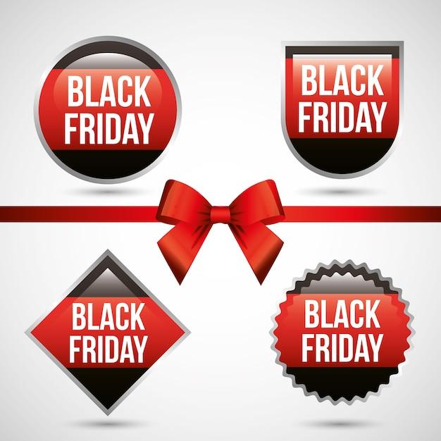 Nhãn Black Friday với kim loại bạc và nơ đỏ Vector cao cấp