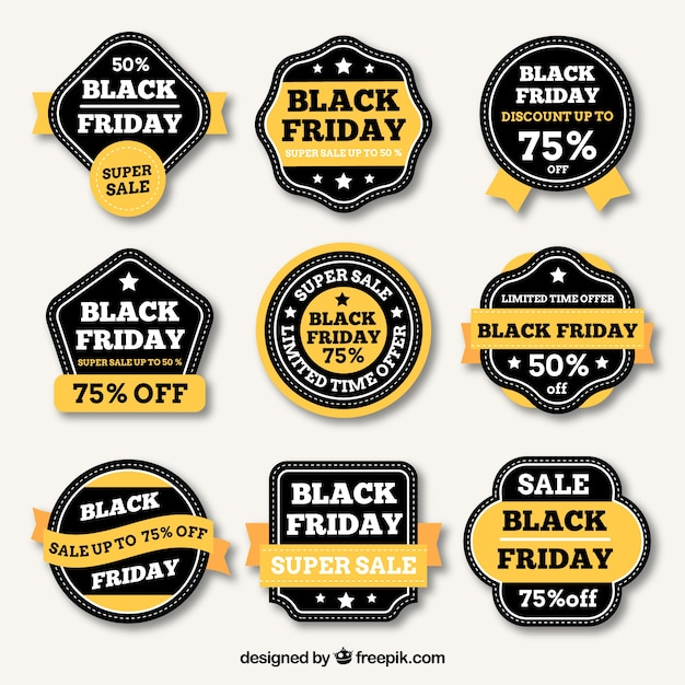 Black friday labels with yellow details