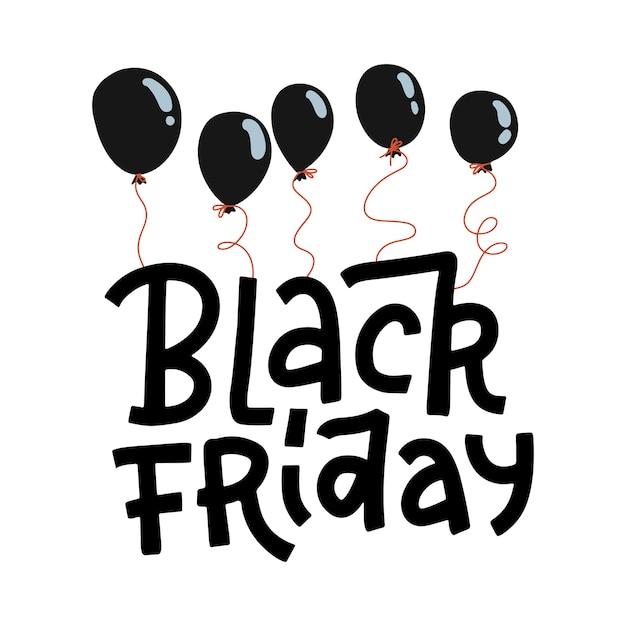 白い背景の黒い風船に掛かっている黒い金曜日レタリング引用。広告バナーの手描きイラスト。 Premiumベクター