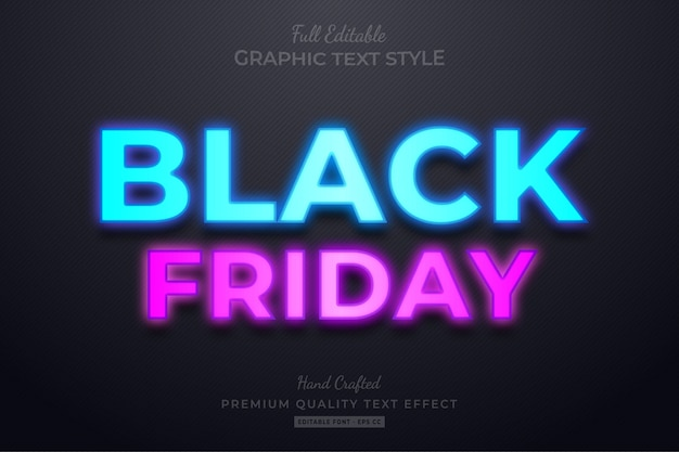 Black friday neon editable text style effect Premium Vector