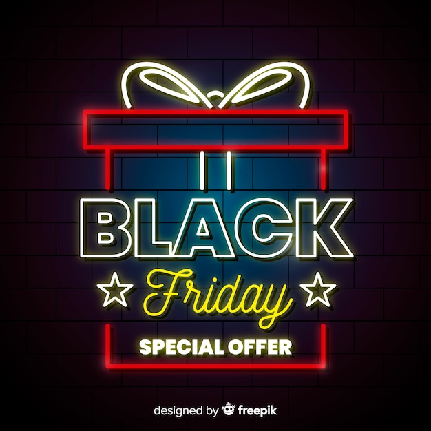 Black friday neon gift background Free Vector