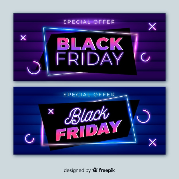 Black friday neon light banners with minimalist design Free Vector