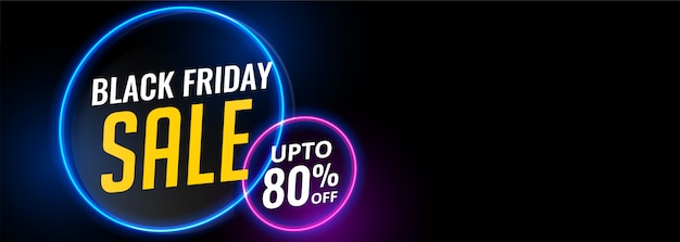 Black friday neon light sale banner Free Vector