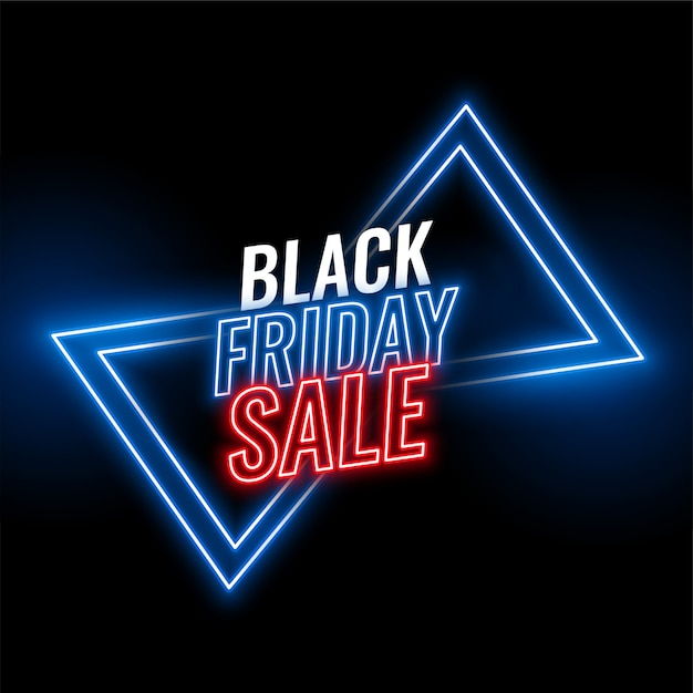 Black friday neon sale banner  background Free Vector