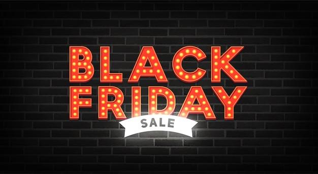 Black friday neon sign. sale banner. neon sign, bright signboard, light banner Premium Vector