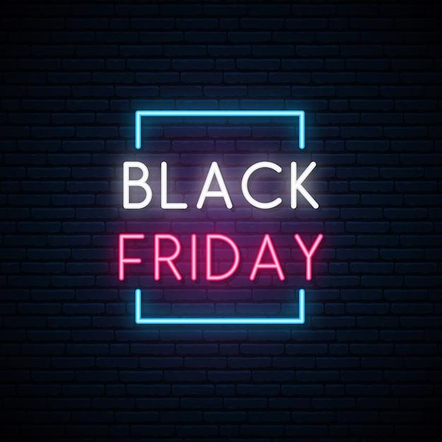 Black friday neon signboard. Premium Vector