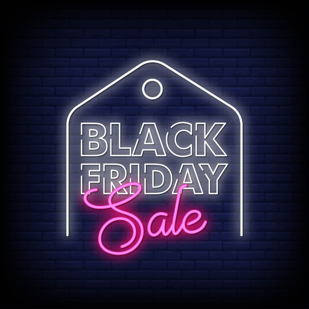 Black friday neon signs style text Premium Vector