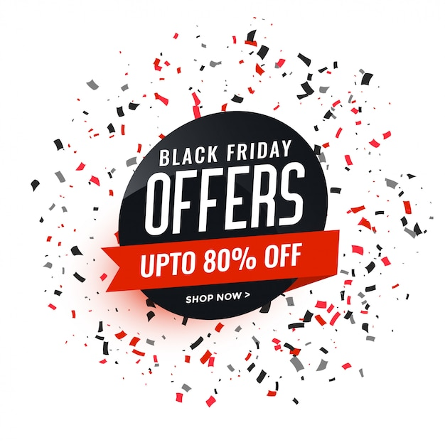 Black friday offers banner with confetti design Free Vector