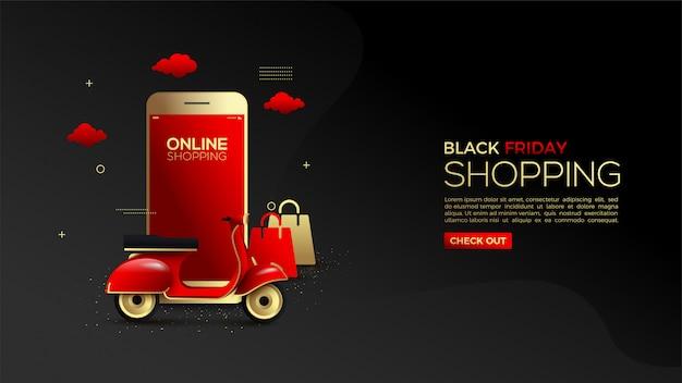 金のスマートフォンと配送車を使ったブラックフライデーのオンラインショッピング。 Premiumベクター