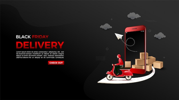 Black friday online shopping with illustrations of 3d smartphones and motorbikes. Premium Vector