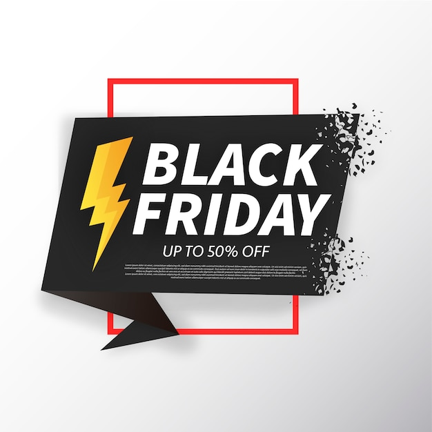 Black Friday Origami Broken Banner Free Vector