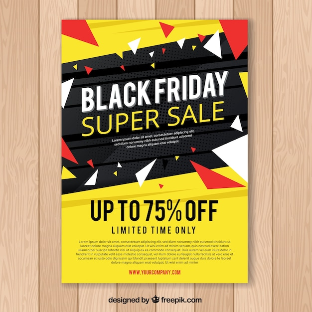 Black friday poster in black and yellow Free Vector