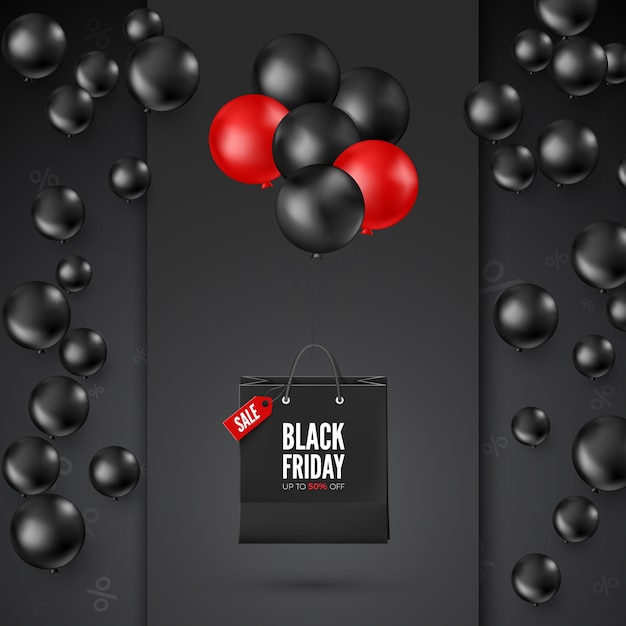 割引オファー付きのブラックフライデーポスター。ショッピングバッグ付きの黒と赤の風船。 webバナーのデザイン。 Premiumベクター