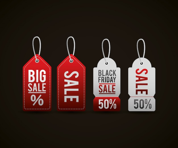Ценники черной пятницы Бесплатные векторы