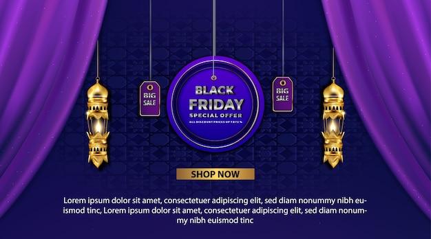 Banner promozionale del black friday bagliore arabo lanterna oro con offerta speciale Vettore gratuito