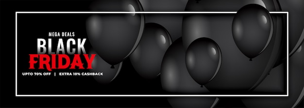 Black friday promotional sale balloons banner Free Vector