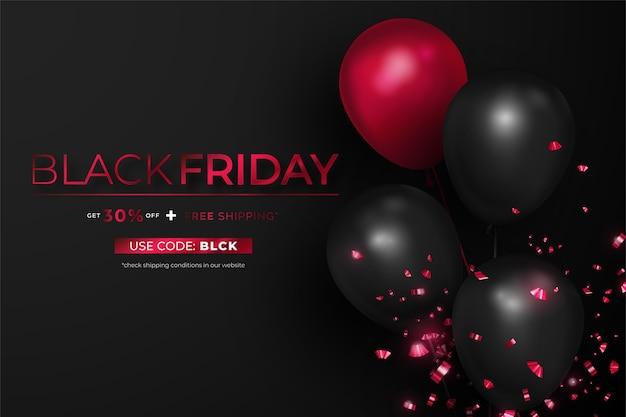 Banner realistico di venerdì nero con palloncini Vettore gratuito