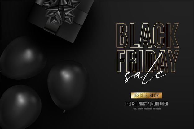 Black friday realistic banner with presents and balloons Free Vector