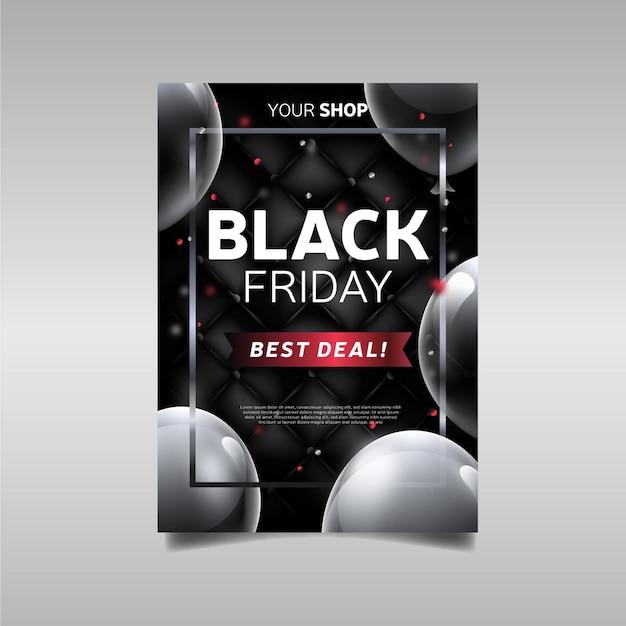 Volantino promozionale migliore offerta realistica del black friday Vettore gratuito