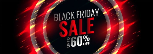 Black friday red banner with sparkle glows Free Vector