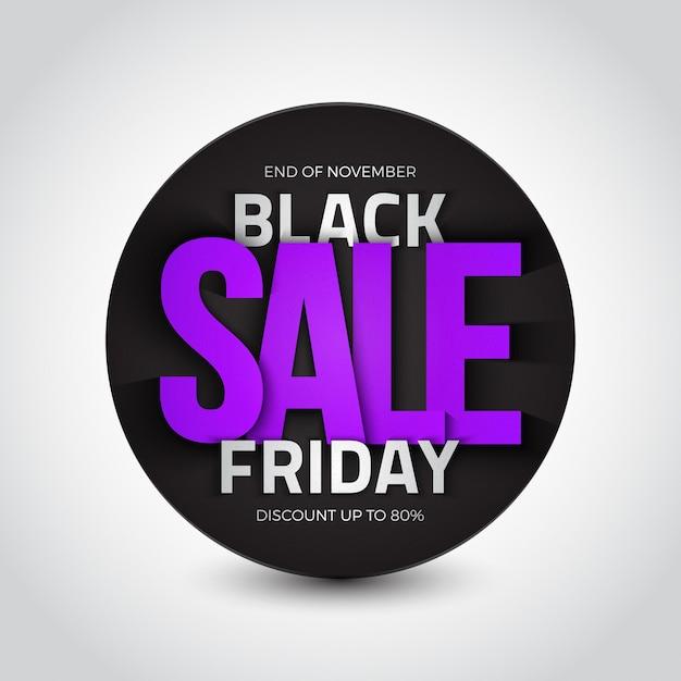 Черная пятница распродажа 3d круглый баннер Premium векторы