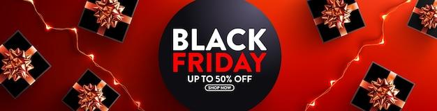 ブラックフライデーセール50%オフポスター、ギフトボックス、小売用ledストリングライト付き Premiumベクター