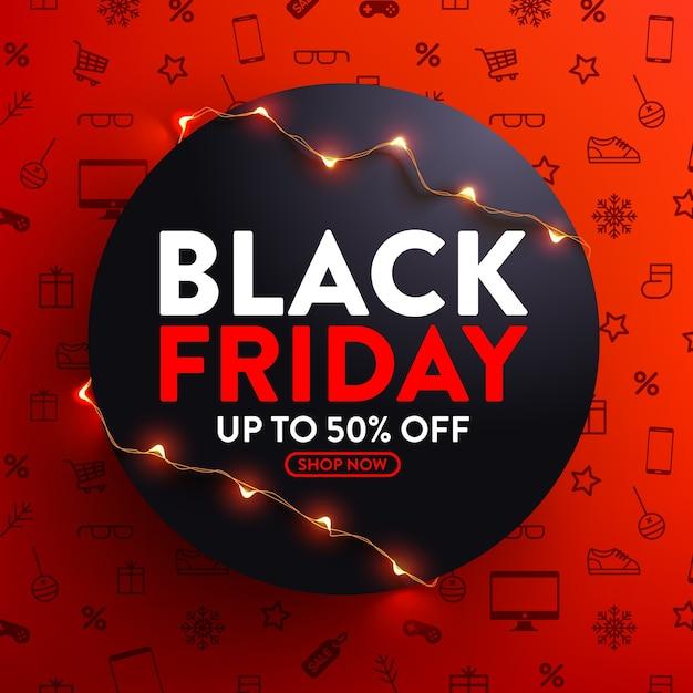 Распродажа в черную пятницу со скидкой 50%. плакат со светодиодными гирляндами для розничной торговли, покупок или акции черной пятницы в красно-черном стиле Premium векторы