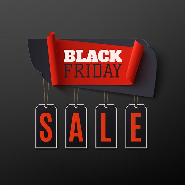 Black friday sale, abstract banner on black background. design template for brochure, poster or flyer. Premium Vector