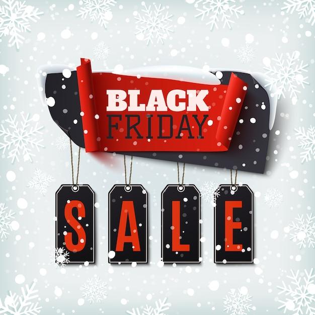 검은 금요일 판매, 눈과 눈송이와 겨울 배경에 추상 배너. 브로셔, 포스터 또는 전단지 템플릿입니다. 삽화. 프리미엄 벡터
