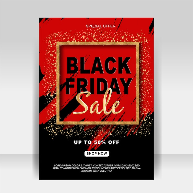 Black friday sale ad flyer banner with glitter gold and splash Premium Vector