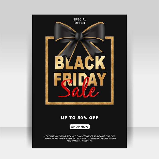 Black friday sale ad flyer banner with ribbon gold Free Vector