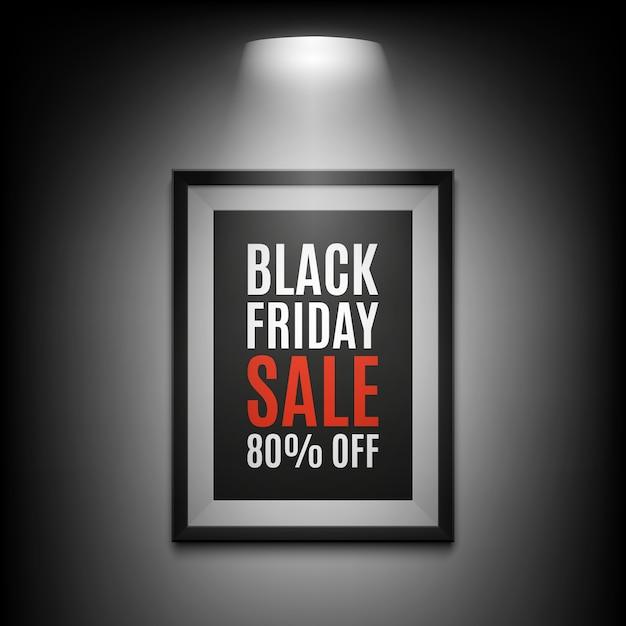 검은 금요일 판매 배경. 검은 바탕에 조명 된 액자입니다. 삽화. 프리미엄 벡터