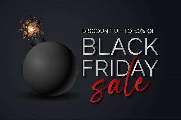 Черная пятница продажа фон с бомбой, готовой взорваться Premium векторы