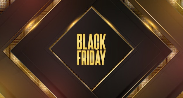 Black friday sale background with abstract 3d golden frames Free Vector