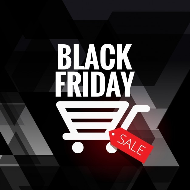 Black friday sale background with cart icon Free Vector