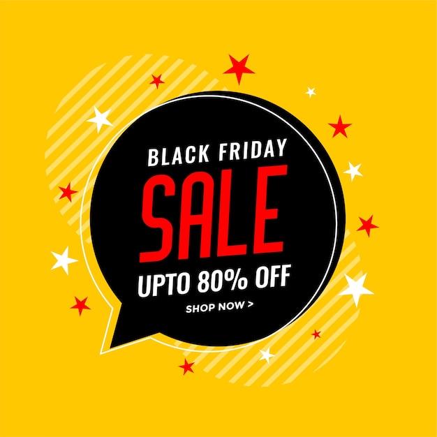 Sfondo di vendita venerdì nero con bolla di chat e stelle Vettore gratuito