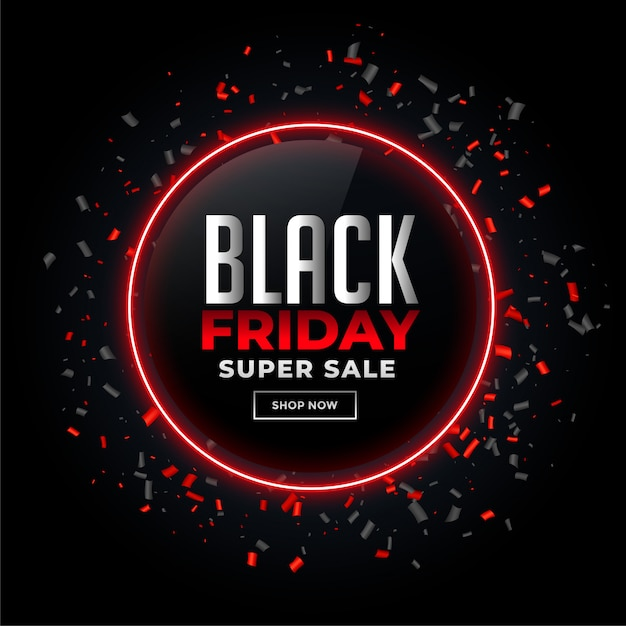 Black friday sale background with confetti Free Vector
