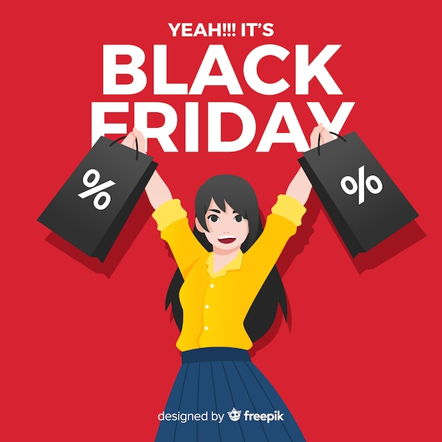 Black friday sale background with girl shopping Free Vector
