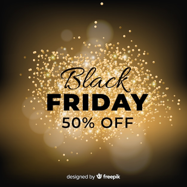 Black friday sale background with golden glitter Free Vector