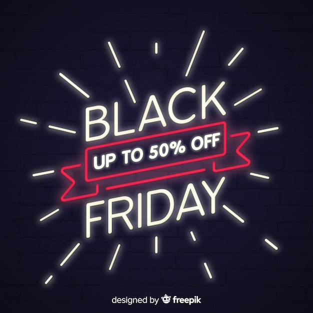 Black friday sale background with neon style Free Vector