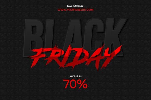 Sfondo di vendita venerdì nero con effetto testo pennello rosso Vettore gratuito
