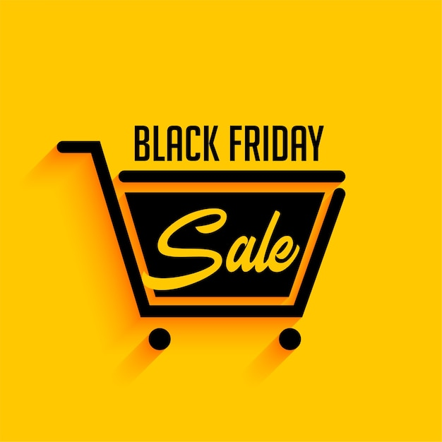 Black friday sale background with shopping cart Free Vector