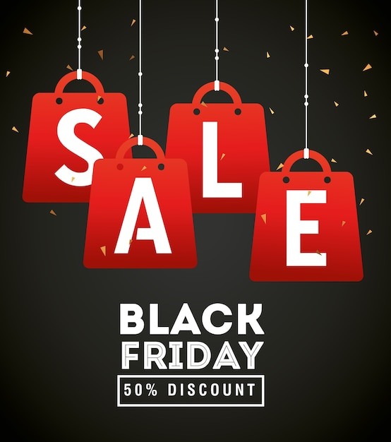 Черная пятница распродажа сумки подвесной дизайн, продажа, сохранение и покупка Premium векторы