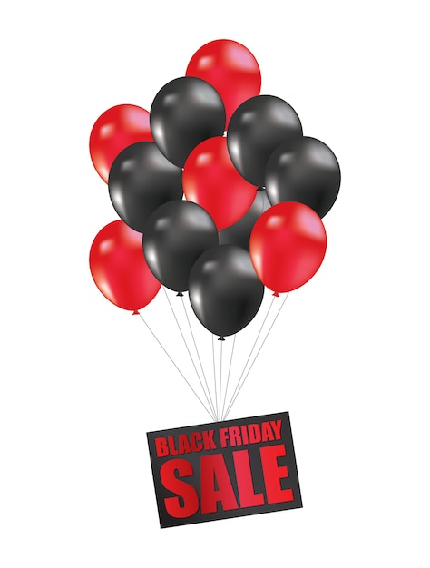 Black friday sale balloon Premium Vector