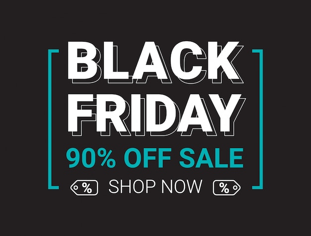 Black friday sale banner layout design template. Premium Vector