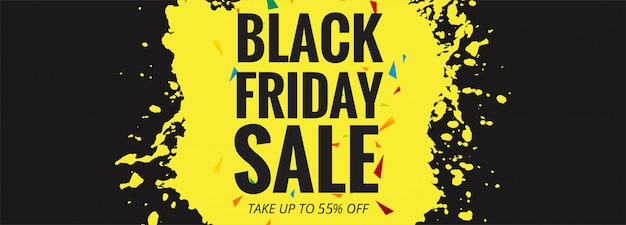 Black friday sale banner layout Free Vector