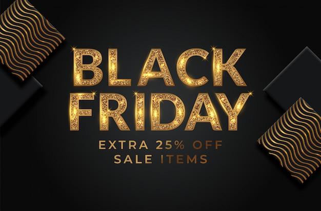 Black friday sale banner layout Premium Vector