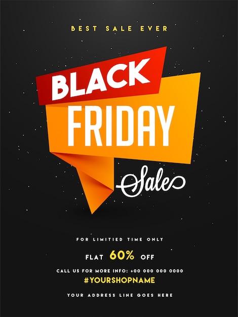 black friday sale banner or flyer design with discount offer