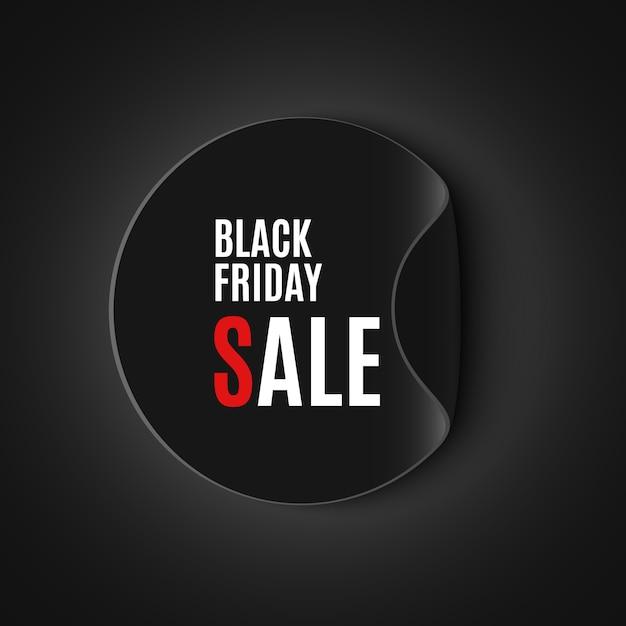 Черная пятница продажа баннер. круглая наклейка. иллюстрации. Premium векторы
